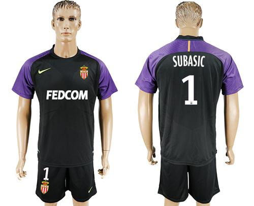 Monaco #1 Subasic Black Goalkeeper Soccer Club Jersey