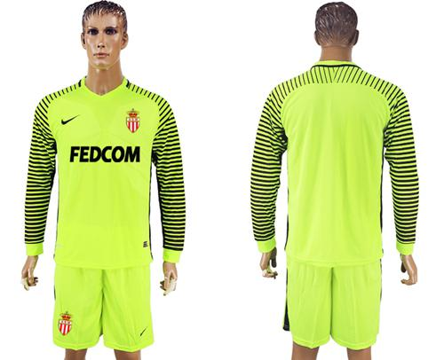 Monaco Blank Shiny Green Goalkeeper Long Sleeves Soccer Club Jersey