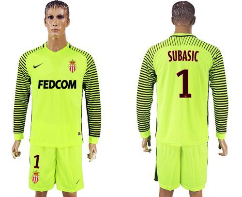 Monaco #1 Subasic Shiny Green Goalkeeper Long Sleeves Soccer Club Jersey