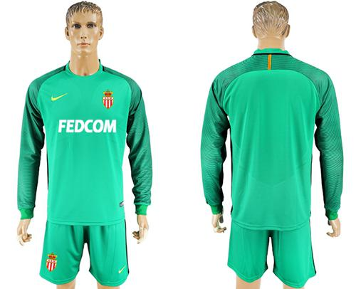 Monaco Blank Green Goalkeeper Long Sleeves Soccer Club Jersey