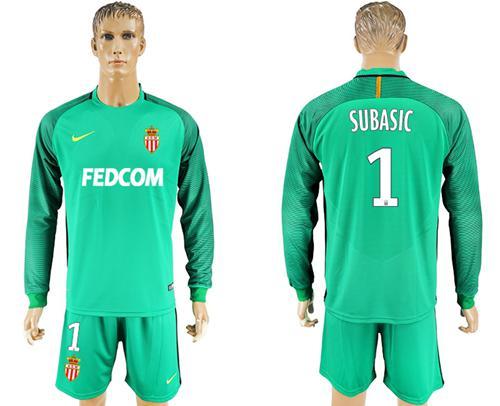 Monaco #1 Subasic Green Goalkeeper Long Sleeves Soccer Club Jersey