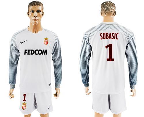 Monaco #1 Subasic White Goalkeeper Long Sleeves Soccer Club Jersey