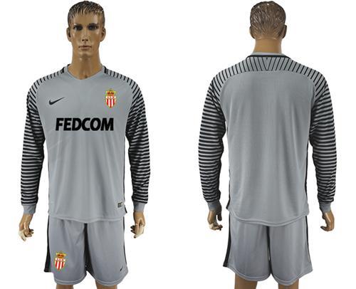 Monaco Blank Grey Goalkeeper Long Sleeves Soccer Club Jersey