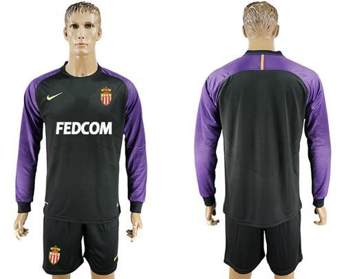 Monaco Blank Black Goalkeeper Long Sleeves Soccer Club Jersey