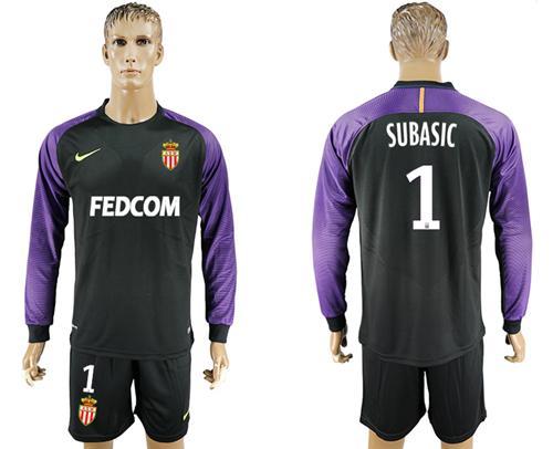 Monaco #1 Subasic Black Goalkeeper Long Sleeves Soccer Club Jersey