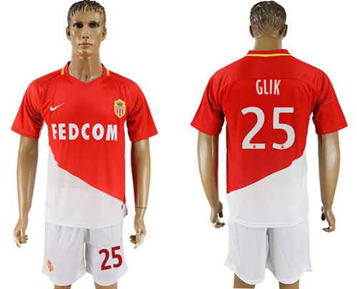 Monaco #25 Glik Home Soccer Club Jersey