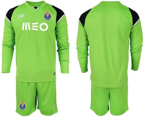 Oporto Blank Green Goalkeeper Long Sleeves Soccer Club Jersey