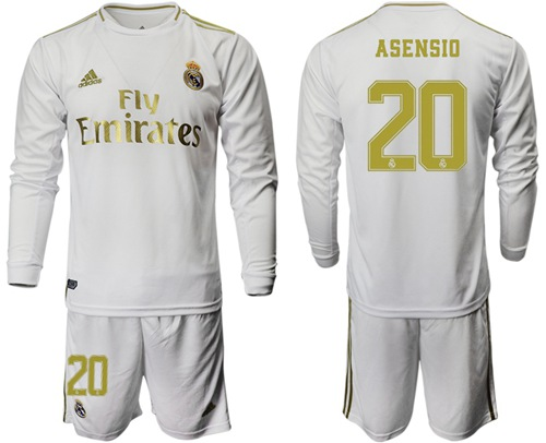 Real Madrid #20 Asensio White Home Long Sleeve Soccer Club Jersey