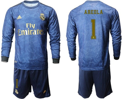 Real Madrid #1 Areola Away Long Sleeves Soccer Club Jersey