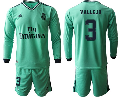 Real Madrid #3 Vallejo Third Long Sleeves Soccer Club Jersey