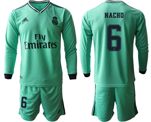 Real Madrid #6 Nacho Third Long Sleeves Soccer Club Jersey