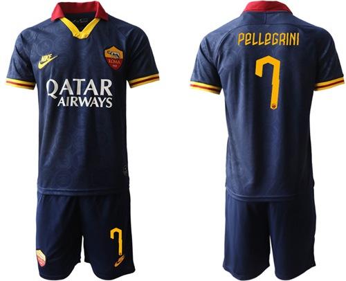 Roma #7 Pellegrini Third Soccer Club Jersey