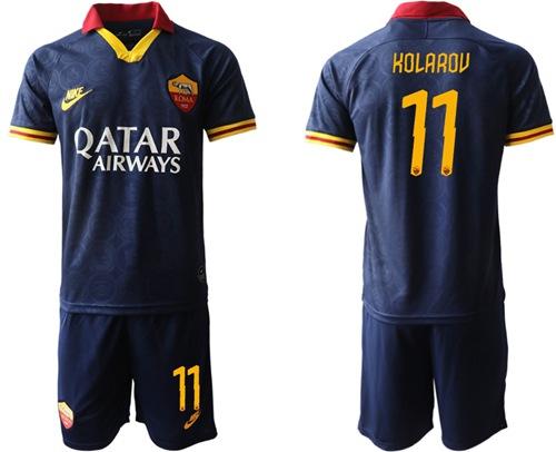 Roma #11 Kolarov Third Soccer Club Jersey