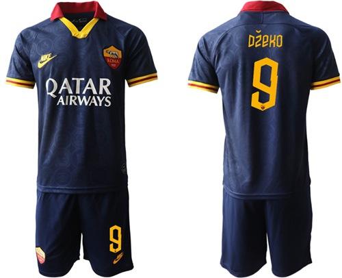 Roma #9 Dzeko Third Soccer Club Jersey