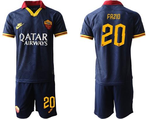 Roma #20 Fazio Third Soccer Club Jersey