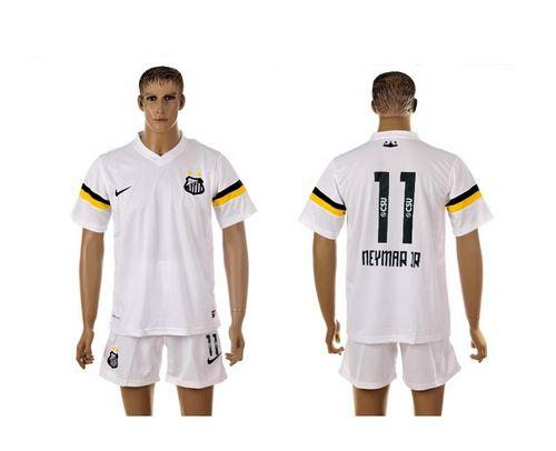 Santos #11 Neymarjr White Home Soccer Club Jersey