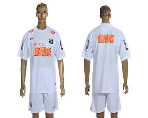 Santos Blank White & Orange Font Home Soccer Club Jersey
