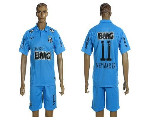 Santos #11 Neymarjr Blue Away Soccer Club Jersey