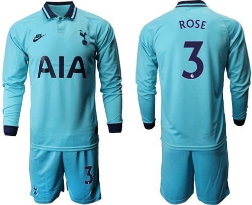 Tottenham Hotspur #3 Rose Third Long Sleeves Soccer Club Jersey