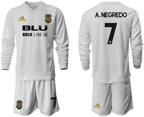 Valencia #7 A.Negredo Home Long Sleeves Soccer Club Jersey
