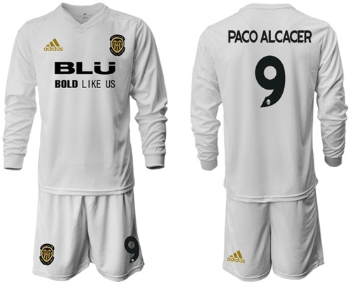 Valencia #9 Paco Alcacer Home Long Sleeves Soccer Club Jersey