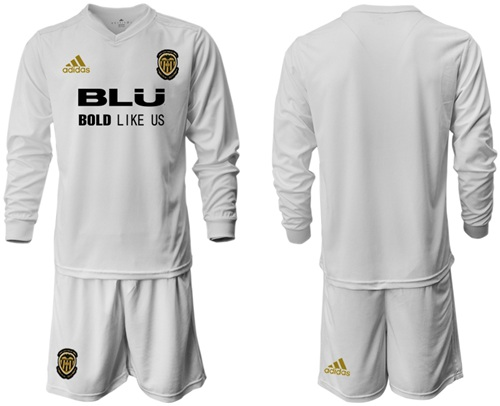 Valencia Blank Home Long Sleeves Soccer Club Jersey