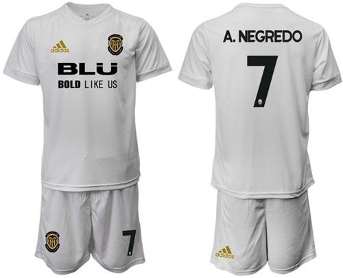 Valencia #7 A.Negredo Home Soccer Club Jersey