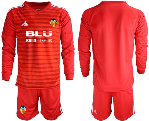 Valencia Blank Red Goalkeeper Long Sleeves Soccer Club Jersey