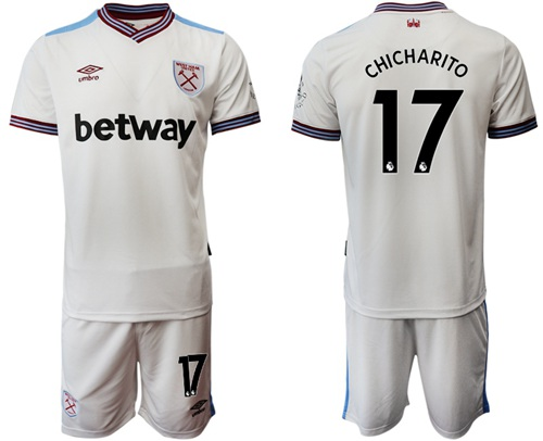 West Ham United #17 Chicharito Away Soccer Club Jersey