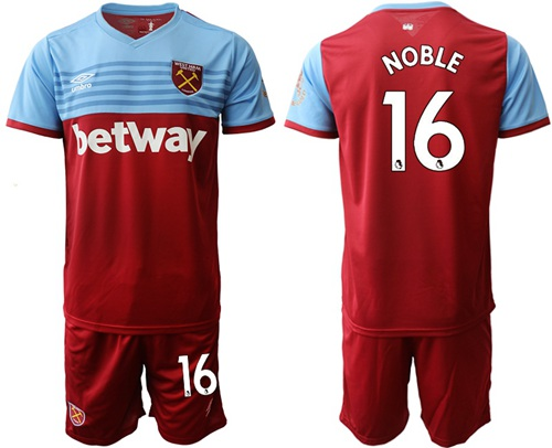 West Ham United #16 Noble Home Soccer Club Jersey