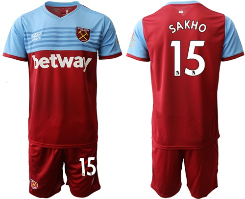 West Ham United #15 Sakho Home Soccer Club Jersey