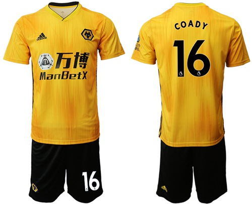 Wolves #16 Coady Home Soccer Club Jersey