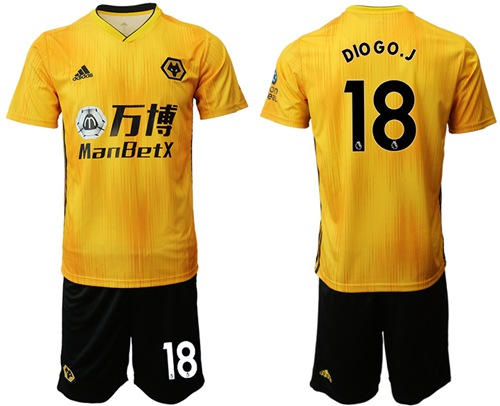 Wolves #18 DIO GO.J Home Soccer Club Jersey