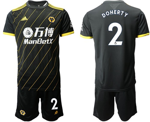 Wolves #2 Doherty Away Soccer Club Jersey