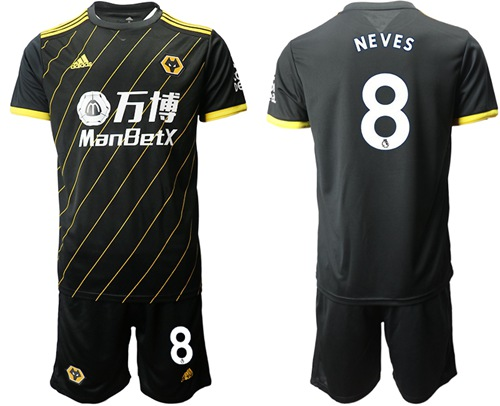 Wolves #8 Neves Away Soccer Club Jersey