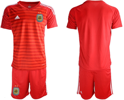 Argentina Blank Red Goalkeeper Soccer Country Jersey