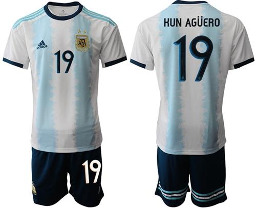 Argentina #19 Kun Aguero Home Soccer Country Jersey
