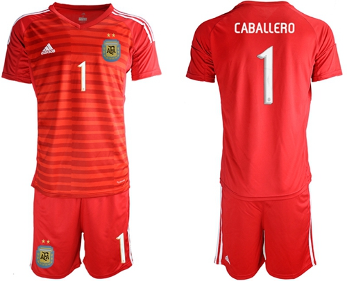Argentina #1 Caballero Red Goalkeeper Soccer Country Jersey