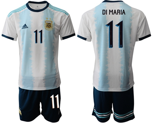 Argentina #11 Di Maria Home Soccer Country Jersey