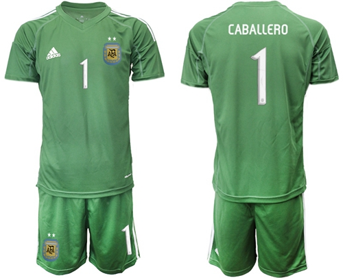 Argentina #1 Caballero Army Green Goalkeeper Soccer Country Jersey