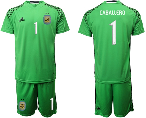 Argentina #1 Caballero Green Goalkeeper Soccer Country Jersey