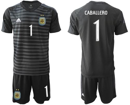 Argentina #1 Caballero Black Goalkeeper Soccer Country Jersey