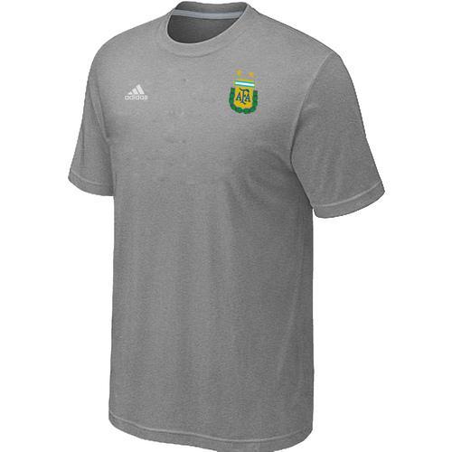 Adidas Argentina 2014 World Small Logo Soccer T-Shirt Light Grey