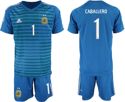 Argentina #1 Caballero Blue Goalkeeper Soccer Country Jersey