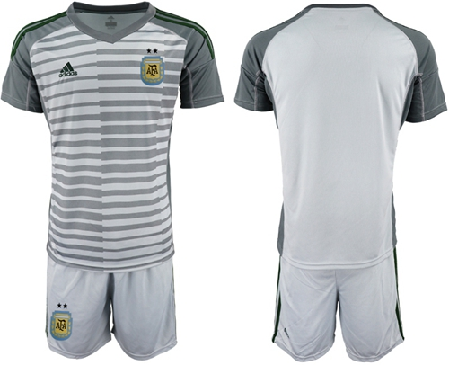 Argentina Blank Grey Goalkeeper Soccer Country Jersey