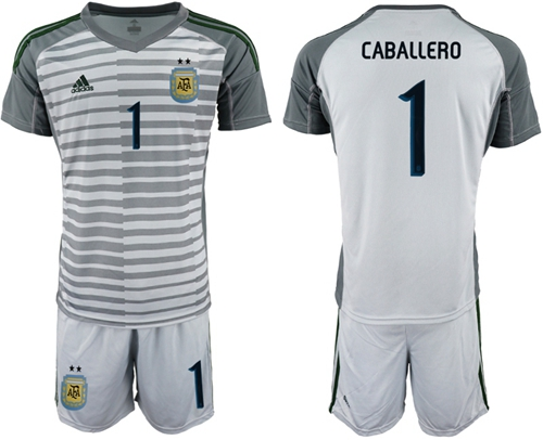 Argentina #1 Caballero Grey Goalkeeper Soccer Country Jersey