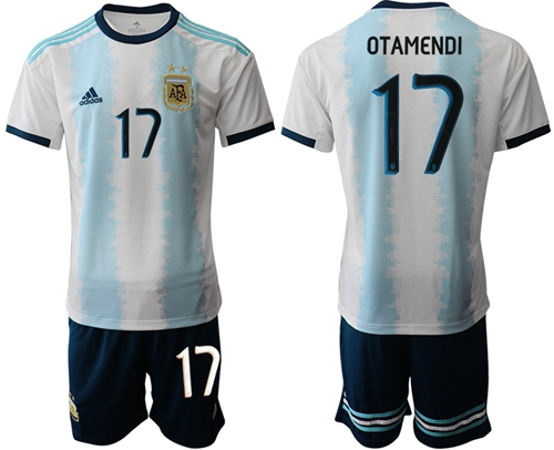 Argentina #17 Otamendi Home Soccer Country Jersey