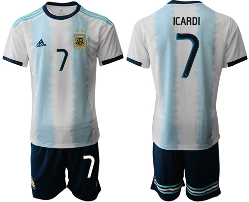 Argentina #7 Icardi Home Soccer Country Jersey