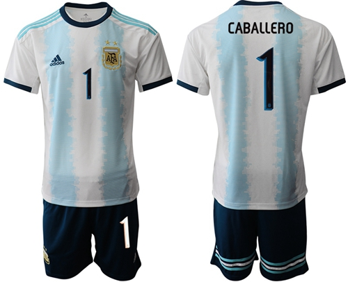Argentina #1 Caballero Home Soccer Country Jersey