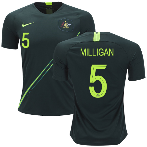 Australia #5 Milligan Away Soccer Country Jersey